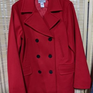 Pendleton Red Peacoat with Black Anchor Buttons